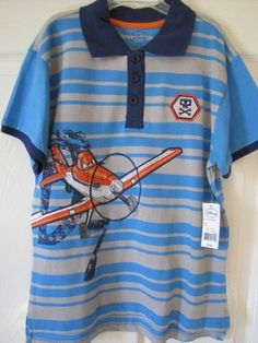 DISNEY PIXAR Planes Graphic Short Sleeve Polo Shirt Size 9/10 Retail $16 NWT #Disney #Everyday