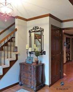 Best paint color for dark wood trim, oak floor. Kylie M Interiors E-design, Benjamin Moore REvere Pewter in entryway and stairs