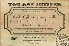 Vintage Wedding Invitation Template by LuckyBean33 on Etsy, $13.00