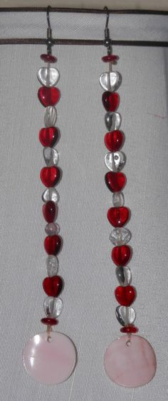 Plains Inspired Red And White Hearts Earrings by mysticbazaar, $20.00