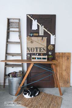 Old Ironing board...have one...good ways to use it ---via FunkyJunkInterior...