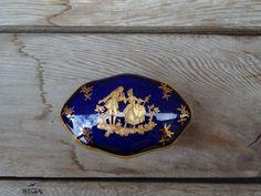 VintageLimoges Trinket Box Cobalt Blue Oval by TiesofMyFather