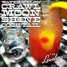 Watermelon Crawl  Ingredients:  1/2 cup ice 4 cubes fresh, ripe watermelon ½ lemon, squeezed and added to ice 1.5 ounces moonshine  Muddle or shake vigorously with moonshine.  Add: ½ cup lemonade splash of sprite  Top with additional ice and enjoy!