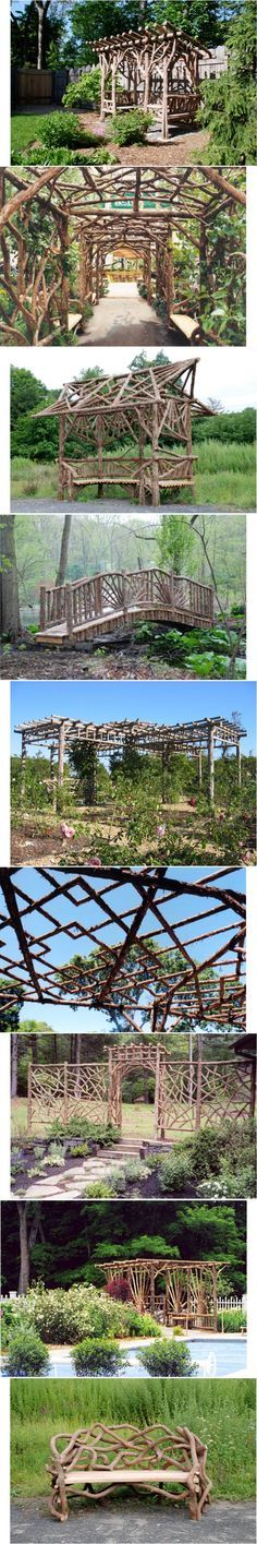 18 Best Ideas for rustic wood fence tree branches Garden Arbor, Garden Fencing, Garden Trellis, Garden Landscaping, Gazebo Pergola, Pergola Plans, Natural Structures, Garden Structures, Rustic Gardens