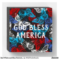 American Spirit, Box Signs, Butterfly Pattern, Custom Boxes, Custom Wood, Wooden Boxes, Wooden Signs, Red And White, Diy Crafts