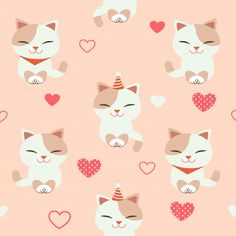 The Seamless Pattern Of Cute Cat With Heart Cat Pattern, Pattern Art, Baby Pink Aesthetic, Cat Wallpaper, Kids Prints, Cat Art, Cute Cats, Watercolor Art, Arts And Crafts