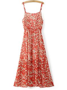 Buy Red Spaghetti Strap Floral Flare Midi Dress from abaday.com, FREE shipping Worldwide - Fashion Clothing, Latest Street Fashion At Abaday.com