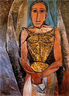 """""""Woman with Yellow Shirt"""".Artist: Pablo Picasso Completion Date: 1907 Style: Cubism Period: African Period Genre: portrait. Kunst Picasso, Art Picasso, Picasso Paintings, Henri Matisse, Paul Gauguin, Cubist Portraits, Cubist Movement, Guernica, Georges Braque"""