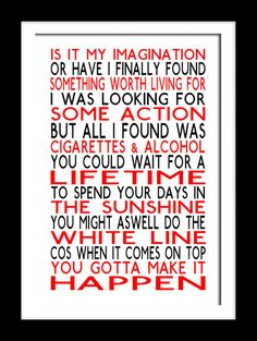 A3 Oasis Cigarettes & Alcohol  Print Typography by RTprintdesigns, £11.99