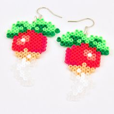 Dirigible plums pixel art Hama bead earrings. Inspired by