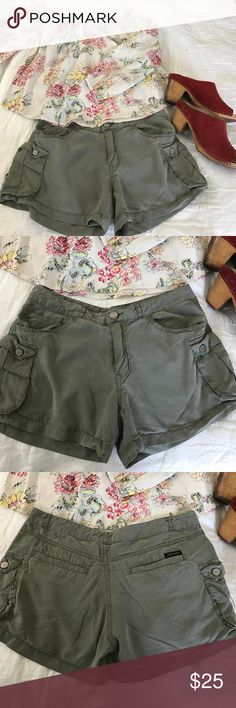Sanctuary Shorts Super cute Sanctuary cargo shorts.  100% Tencel.  Cargo style pocket on each side. 3 inch inseam, short length is 11 inches. Sanctuary Shorts