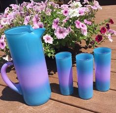 629eee6b4ba Vintage Blendo Pitcher 3 Cocktail Juice Glasses Blue Purple Ombre Frosted