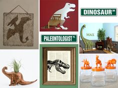 Dinosaur themed bedroom ideas | Lucky Boy - jars with painted dinos on the lids