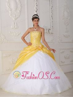 Modest Yellow and White Sweet 16 Dress Strapless Organza and Taffeta Appliques and Hand Flower Ball Gown  http://www.fashionos.com    Dramatic elegance! Taffeta gown with a strapless neckline, fitted bodice is completely adorned with beading. Ultra-sophisticated hand made flower accents the left hip. Bright yellow taffeta top skirt with pick ups and a white tulle underskirt with a lace up back make this quinceanera gowns exquisite!