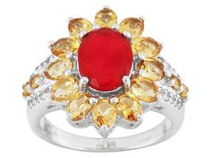 .94ct Oval Cristata Ethiopian Opal(Tm), 1.77ctw Citrine With .12ctw White Topaz Silver Ring