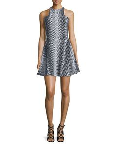 Clarissa+Sleeveless+Party+Dress,+Black/Ivory+by+Elizabeth+and+James+at+Neiman+Marcus.