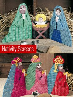 "Complete your holiday decorating with these 2 beautiful screens that depict the Nativity and and the 3 Wise Men bearing gifts. Size: Nativity Screen: 13 5/8"" x 6 1/2"". Wise Men Screen: 12 3/4"" x 6 3/4"". Both are made on 7-count plastic canvas with medium (worsted) weight yarn. Skill Level: Easy to Intermediate"