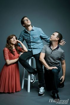 """Andy Samberg, Chelsea Peretti, and Joe Lo Truglio. """"What I love most about my character is that he's smarter than I am,"""" says Andy Samberg. Brooklyn Nine Nine Funny, Brooklyn 9 9, Best Series, Best Tv Shows, Tv Series, Cartoon Network, Chelsea Peretti, Charles Boyle, Jake Peralta"""