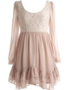 Renaissance Ballet Dress: Features a clean scoop neckline framed by sheer bracelet-length sleeves, crisp lace bodice sharpened with princess seams and a hidden side zipper, easy elastic waist for a custom fit, and a gathered confectionery-style chiffon skirt to finish.
