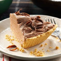 Chocolate Cheesecake Pie Recipe from Taste of Home -- shared by Sandy Schwartz of Brooklyn, New York