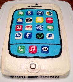 iPhone cake for my daughter's birthday, no fondant only frosting