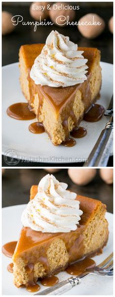 This pumpkin cheesecake recipe is easy and has just the right amount of pumpkin flavor. Topped with caramel and rum-infused whipped cream. Mmmm! @natashaskitchen