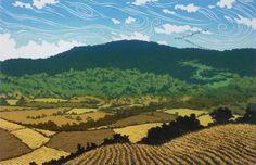 Tail Wind Migration, linocut print by William Hays