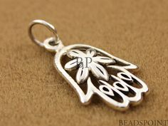 Sterling Silver Openwork Hamsa Hand Charm / Pendant by Beadspoint, $6.99