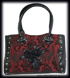 Red & Black Damask Gothic Bag with Roses