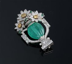 Carved Emerald and Diamond Flower Basket Brooch ~
