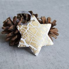 3 Gold Crackle Star Ornaments Set, Christmas Decoration/Gift Tag, Handmade Hanging Xmas Tree Ornament, Rustic Chic Home Decor, Winter Decor