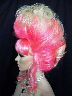 Glamorous UpDo in Pink, Blonde and White. One of a kind and Outrageous!