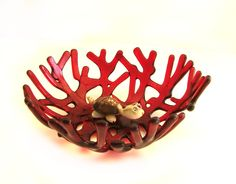 Red Ocean Beach Sea Coral Art Glass Bowl by UneekGlassFusions, $58.00
