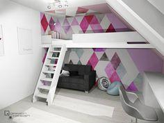 Projekt pokoju dla dziewczynki :) Kolejne ujęcie :) Pomieszczenie znajduje się na poddaszu i użyto w nim tapety z @designyourwalls 😍 P.S. To nadal podpoznański dom, który jest właśnie w trakcie budowy :) . . . . . #dariendesignpl #wnetrzadariendesign #darien_design #design #interior #interior4all #interiordesign #wnetrze #wnetrza #projektowaniewnetrz #projektwnetrza #architekturawnetrz #pink #pinkroom #girlroom #triangles #pokojdziecka #pokojdzieciecy #pokojnastolatki #różowypokój Loft, Bed, Furniture, Home Decor, Decoration Home, Stream Bed, Room Decor, Lofts, Home Furnishings