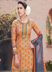 Orange Cotton Silk Palazzo Style Suit 68156