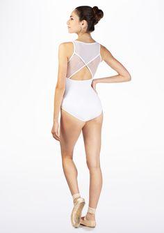 Maillot Stripe con malla sin mangas Lulli* Blanco.