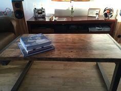 Metal and wood coffee table table basse etabli 16 loft bois metal