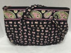 cf2b219569 Vera Bradley Tote Pink Elephants Handbag Shoulder Purse Betsy Black Pink  Green  VeraBradley  ShoulderBag