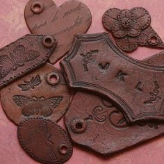 Faux Leather Tags made from polymer clay