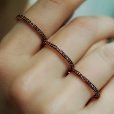 "Plukka """"Triplicate"""" Cognac Diamond Three Finger Ring ($1,150) ❤ liked on Polyvore featuring jewelry, rings, knuckle rings, diamond knuckle ring, diamond ribbon ring, diamond jewelry and diamond rings"
