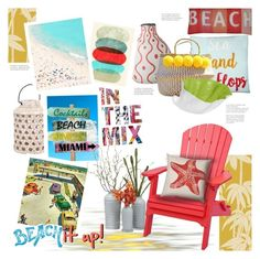 """""""Beach It Up!"""" by stacey-lynne ❤ liked on Polyvore featuring interior, interiors, interior design, home, home decor, interior decorating, Artisan, Marmont Hill, Tracie Andrews and Surya"""