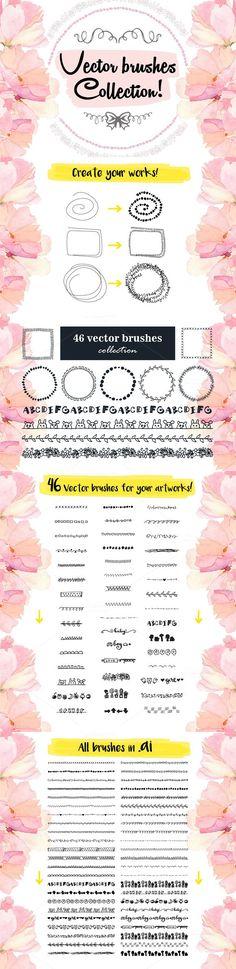 46 Vector hand drawn Brushes Set. Photoshop Brushes. $15.00