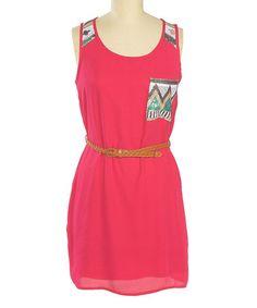 Look at this #zulilyfind! Fuchsia Zigzag Sequin Pocket Belted Dress #zulilyfinds