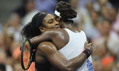 Serena Williams hugs Venus Williams as she defeats her in the US Open Quarterfinals, keeping her Calendar Slam dream alive.