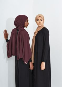 INAYAH    Grape Rayon Blend Jersey Hijab Iced Coffee Soft Crepe Hijab  Black Wrap Front Coat www.inayah.co