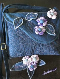 Denim bag - I love the free motion quilting on the handbag - just the picture