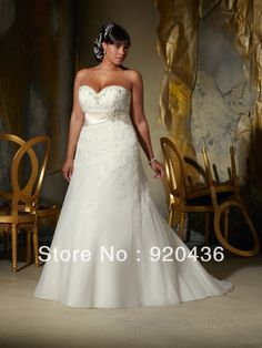 2013  Plus  Size wedding dress A line sweetheart neckline strapless satin Floor  Length ball gown-in Wedding Dresses from Apparel & Accessories on Aliexpress.com