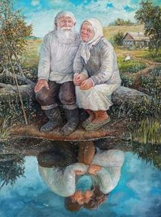 old couple painting by the water reflecting Couple Painting, Couple Art, Art And Illustration, Cool Pictures, Beautiful Pictures, Photos Originales, Growing Old Together, Old Couples, Jolie Photo