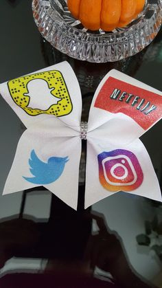 Social Media and Netflix Cheer Bow by GlamourBowsByAnna on Etsy