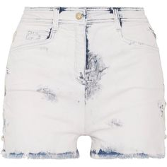 Balmain Lace-up distressed denim shorts ($625) ❤ liked on Polyvore featuring shorts, light denim, balmain shorts, pastel shorts, laced shorts, balmain and lace up shorts